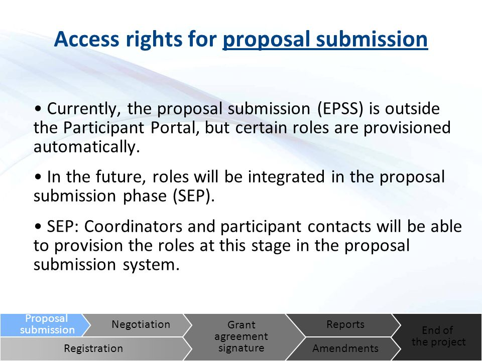 Access rights for proposal submission Currently, the proposal submission (EPSS) is outside the Participant Portal, but certain roles are provisioned automatically.