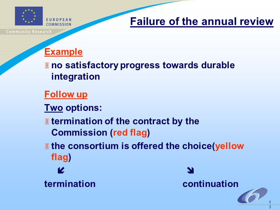 1313 Failure of the annual review Example 3 no satisfactory progress towards durable integration Follow up Two options: 3 termination of the contract by the Commission (red flag) 3 the consortium is offered the choice(yellow flag) termination continuation