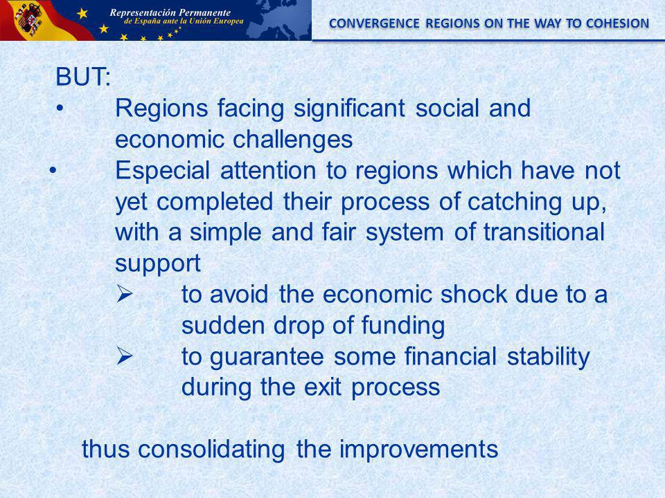 CONVERGENCE REGIONS ON THE WAY TO COHESION BUT: Regions facing significant social and economic challenges Especial attention to regions which have not yet completed their process of catching up, with a simple and fair system of transitional support to avoid the economic shock due to a sudden drop of funding to guarantee some financial stability during the exit process thus consolidating the improvements
