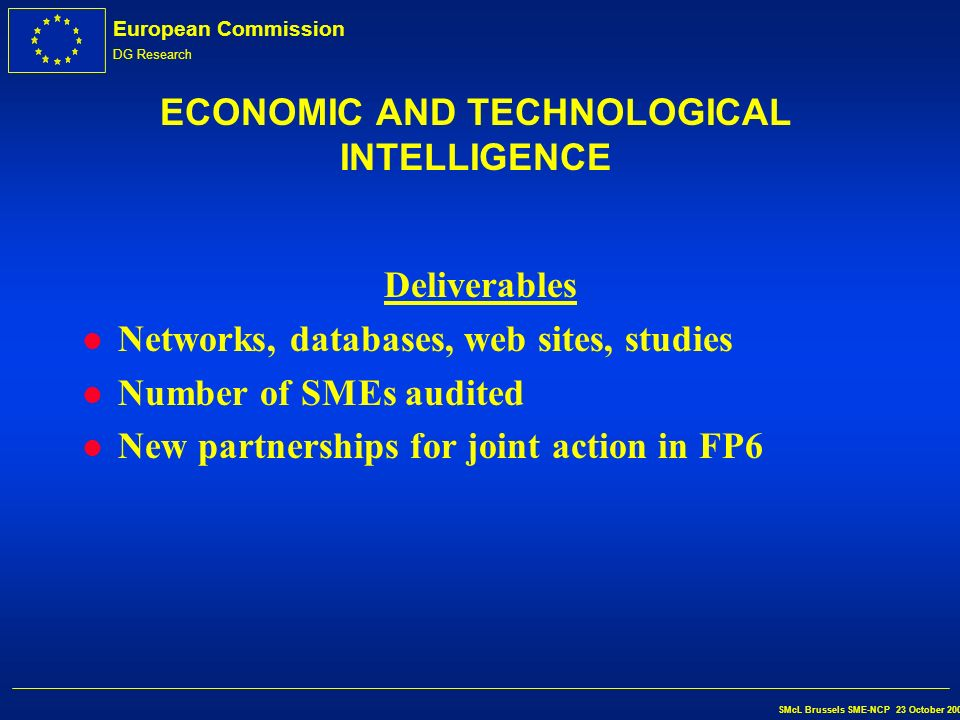 European Commission DG Research SMcL Brussels SME-NCP 23 October 2002 ECONOMIC AND TECHNOLOGICAL INTELLIGENCE Who can participate.