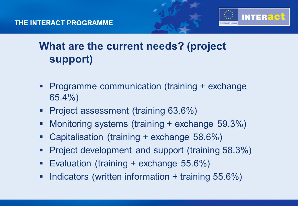 THE INTERACT PROGRAMME What are the current needs.