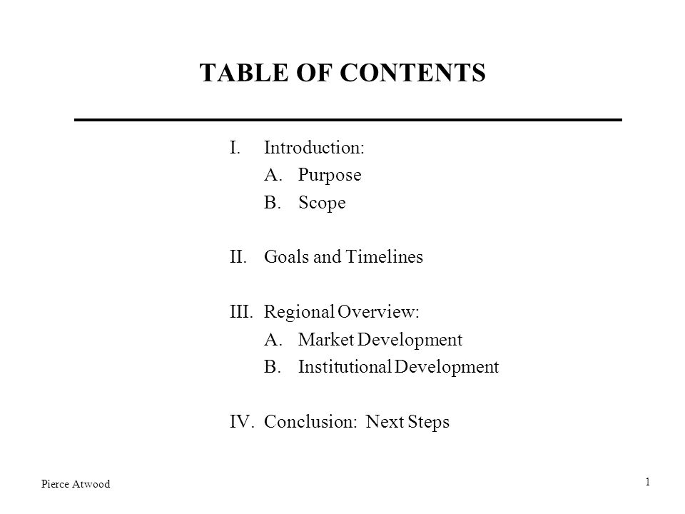 TABLE OF CONTENTS I.Introduction: A.Purpose B.Scope II.Goals and Timelines III.Regional Overview: A.