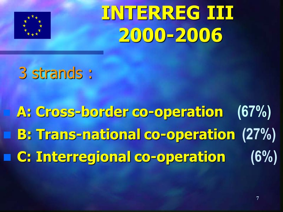 7 3 strands : 3 strands : A: Cross-border co-operation A: Cross-border co-operation (67%) B: Trans-national co-operation B: Trans-national co-operation (27%) C: Interregional co-operation C: Interregional co-operation (6%) INTERREG III