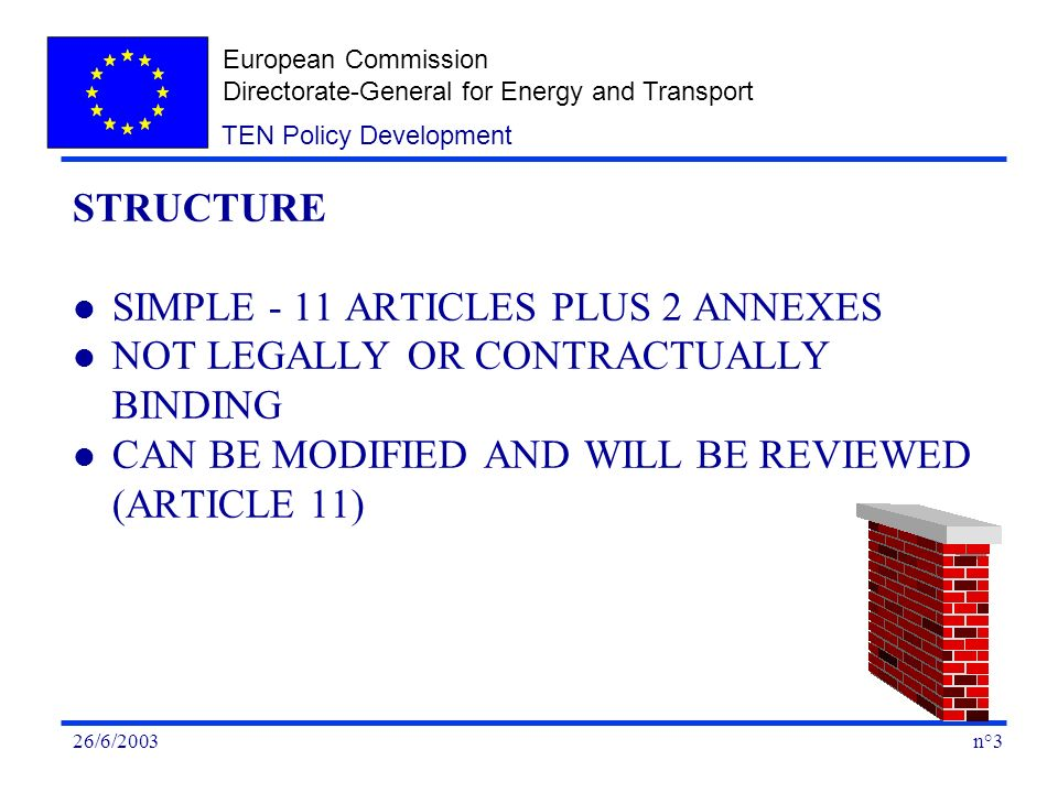 European Commission Directorate-General for Energy and Transport n°326/6/2003 TEN Policy Development STRUCTURE l SIMPLE - 11 ARTICLES PLUS 2 ANNEXES l NOT LEGALLY OR CONTRACTUALLY BINDING l CAN BE MODIFIED AND WILL BE REVIEWED (ARTICLE 11)