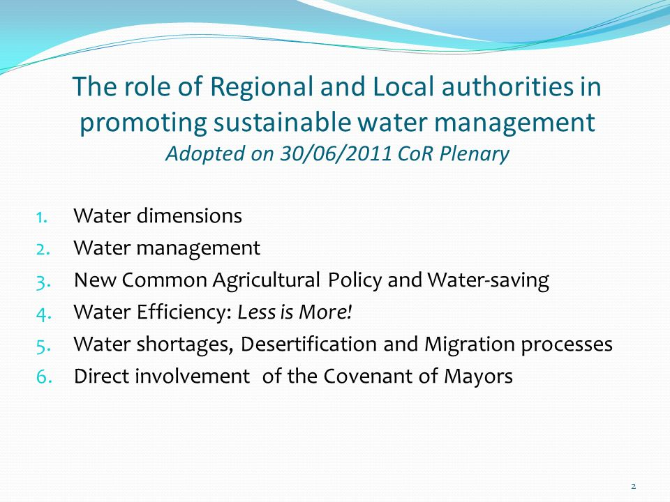2 1. Water dimensions 2. Water management 3. New Common Agricultural Policy and Water-saving 4.