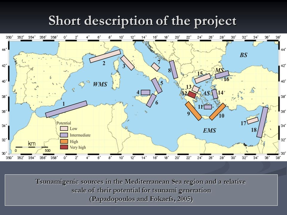 Short description of the project Tsunamigenic sources in the Mediterranean Sea region and a relative scale of their potential for tsunami generation (Papadopoulos and Fokaefs, 2005)