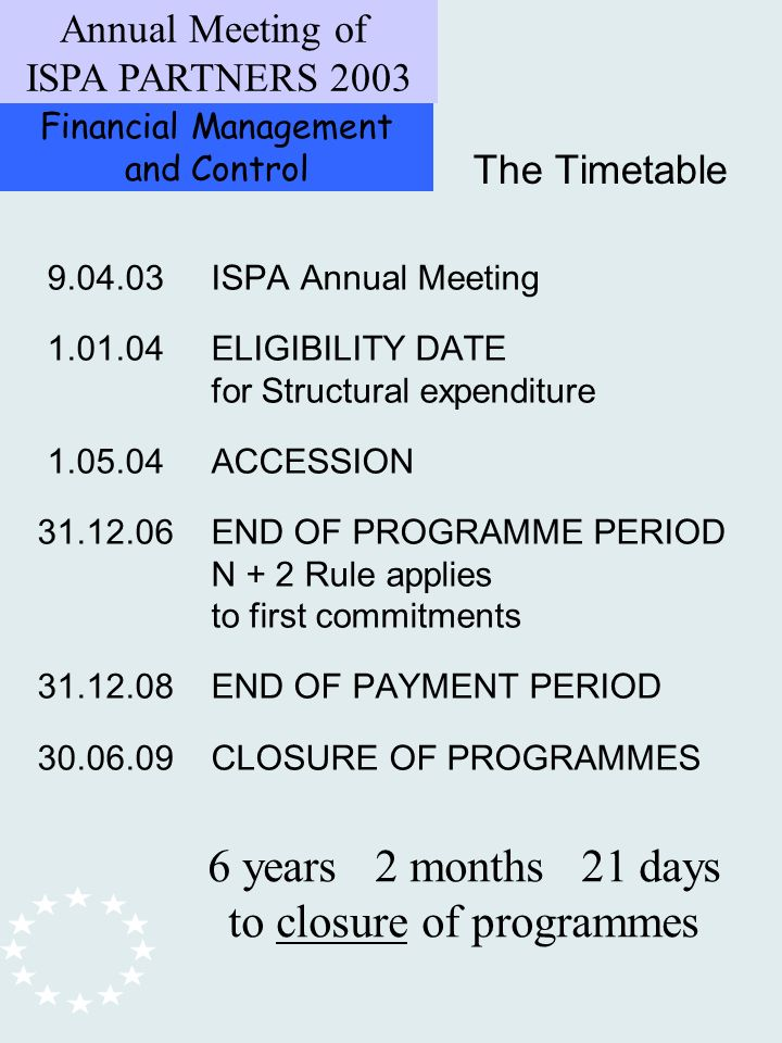 Financial Management and Control Annual Meeting of ISPA PARTNERS ISPA Annual Meeting ELIGIBILITY DATE for Structural expenditure ACCESSION END OF PROGRAMME PERIOD N + 2 Rule applies to first commitments END OF PAYMENT PERIOD CLOSURE OF PROGRAMMES The Timetable 6 years 2 months 21 days to closure of programmes