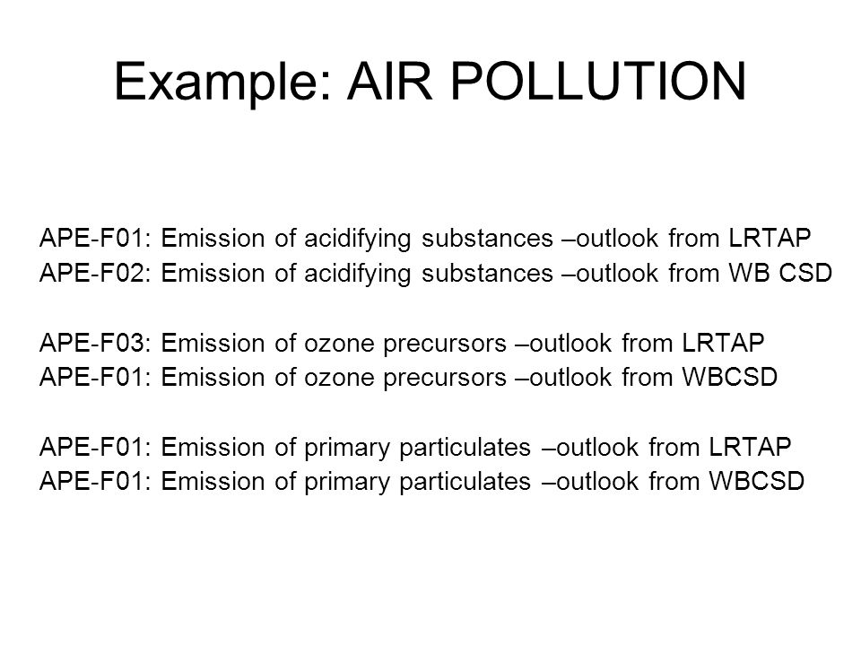 Example: AIR POLLUTION APE-F01: Emission of acidifying substances –outlook from LRTAP APE-F02: Emission of acidifying substances –outlook from WB CSD APE-F03: Emission of ozone precursors –outlook from LRTAP APE-F01: Emission of ozone precursors –outlook from WBCSD APE-F01: Emission of primary particulates –outlook from LRTAP APE-F01: Emission of primary particulates –outlook from WBCSD