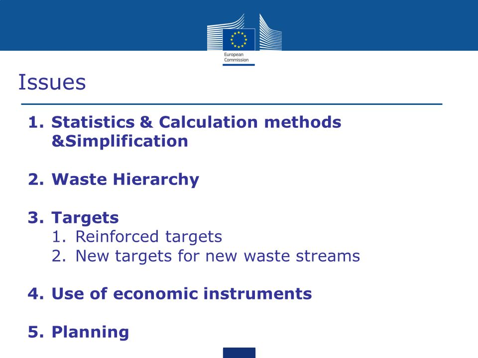 Issues 1.Statistics & Calculation methods &Simplification 2.Waste Hierarchy 3.Targets 1.Reinforced targets 2.New targets for new waste streams 4.Use of economic instruments 5.Planning