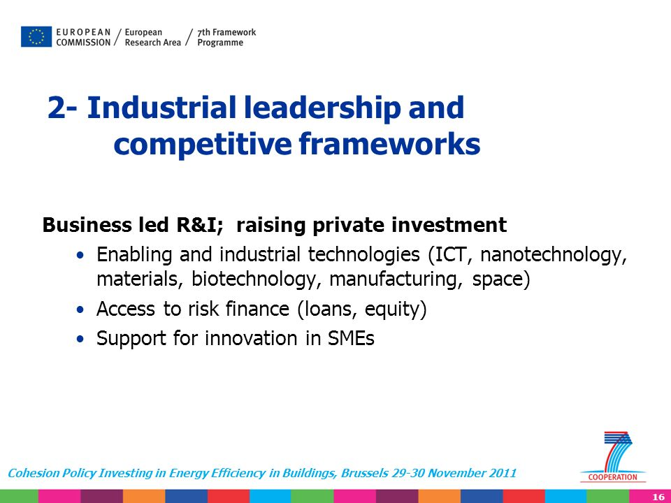 16 Cohesion Policy Investing in Energy Efficiency in Buildings, Brussels 29-30 November 2011 2- Industrial leadership and competitive frameworks Business led R&I; raising private investment Enabling and industrial technologies (ICT, nanotechnology, materials, biotechnology, manufacturing, space) Access to risk finance (loans, equity) Support for innovation in SMEs