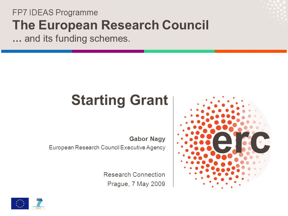 Gabor Nagy European Research Council Executive Agency Research Connection Prague, 7 May 2009 FP7 IDEAS Programme The European Research Council … and its funding schemes.