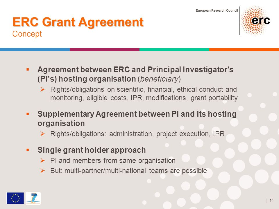 European Research Council 10 ERC Grant Agreement ERC Grant Agreement Concept Agreement between ERC and Principal Investigators (PIs) hosting organisation (beneficiary) Rights/obligations on scientific, financial, ethical conduct and monitoring, eligible costs, IPR, modifications, grant portability Supplementary Agreement between PI and its hosting organisation Rights/obligations: administration, project execution, IPR Single grant holder approach PI and members from same organisation But: multi-partner/multi-national teams are possible