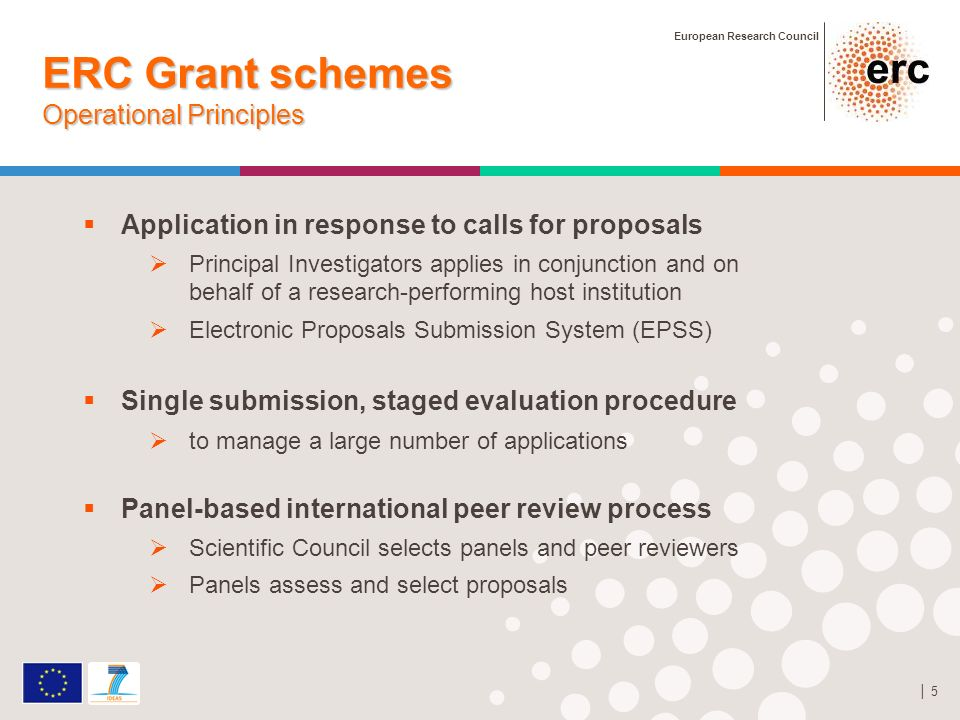 European Research Council 5 ERC Grant schemes Operational Principles Application in response to calls for proposals Principal Investigators applies in conjunction and on behalf of a research-performing host institution Electronic Proposals Submission System (EPSS) Single submission, staged evaluation procedure to manage a large number of applications Panel-based international peer review process Scientific Council selects panels and peer reviewers Panels assess and select proposals
