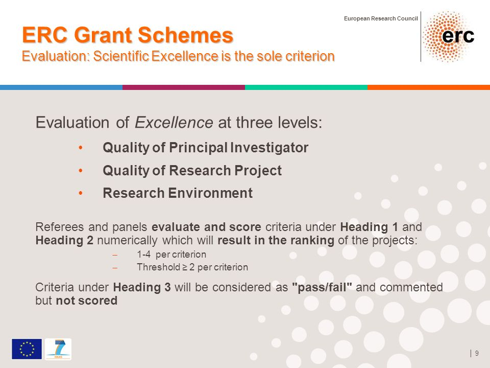 European Research Council 9 ERC Grant Schemes Evaluation: Scientific Excellence is the sole criterion Evaluation of Excellence at three levels: Quality of Principal Investigator Quality of Research Project Research Environment Referees and panels evaluate and score criteria under Heading 1 and Heading 2 numerically which will result in the ranking of the projects: 1-4 per criterion Threshold 2 per criterion Criteria under Heading 3 will be considered as pass/fail and commented but not scored