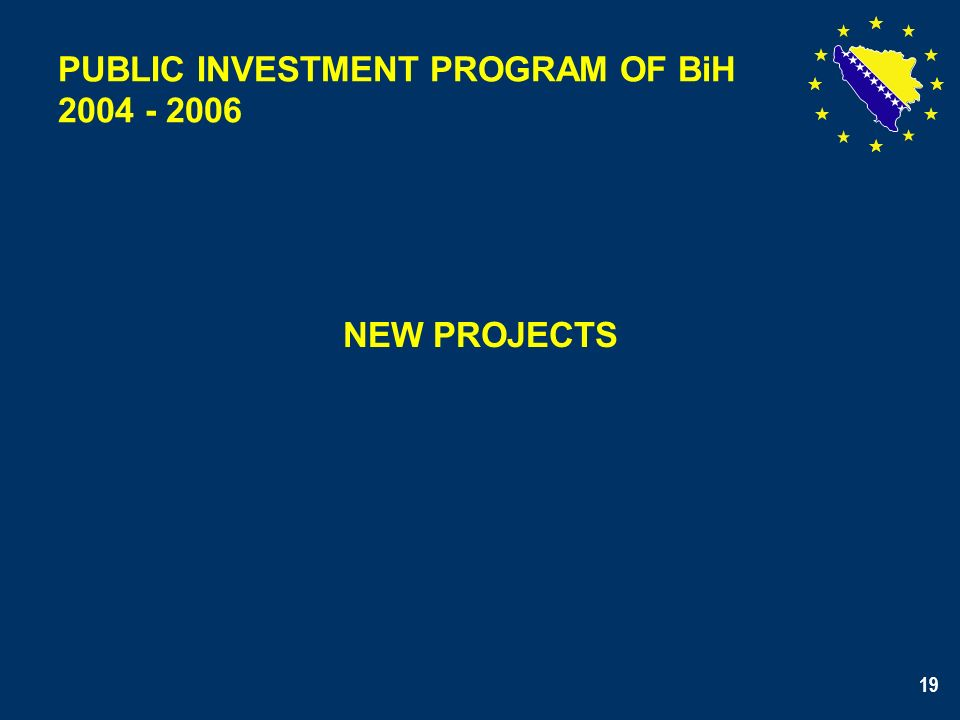 19 NEW PROJECTS PUBLIC INVESTMENT PROGRAM OF BiH 2004 - 2006 19