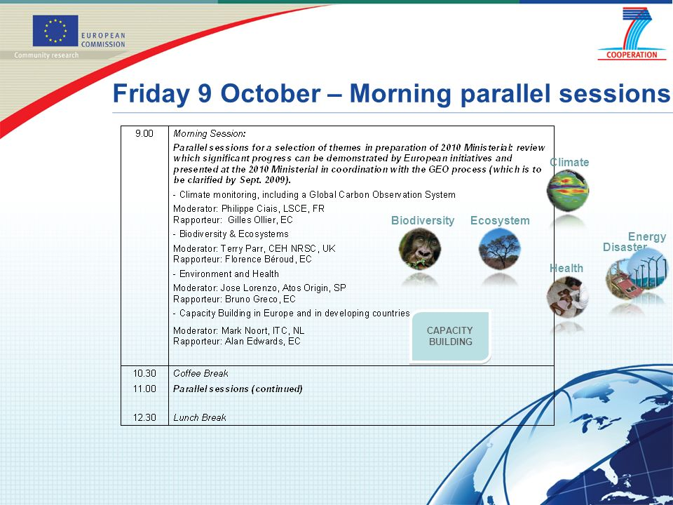Friday 9 October – Morning parallel sessions Climate BiodiversityEcosystem Health CAPACITY BUILDING Disaster Energy