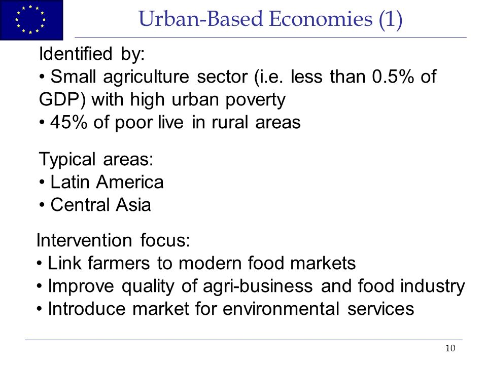 10 Urban-Based Economies (1) Identified by: Small agriculture sector (i.e.