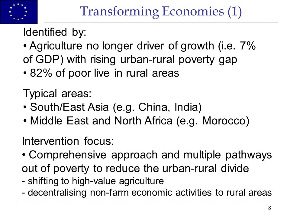 8 Transforming Economies (1) Identified by: Agriculture no longer driver of growth (i.e.