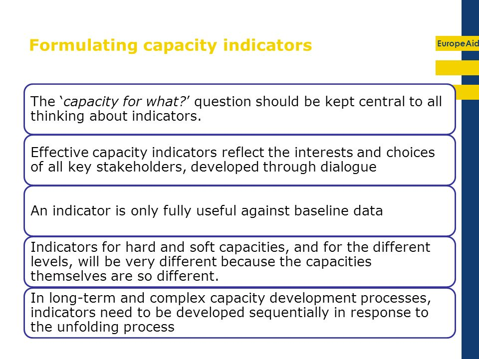 EuropeAid 19 Formulating capacity indicators The capacity for what.