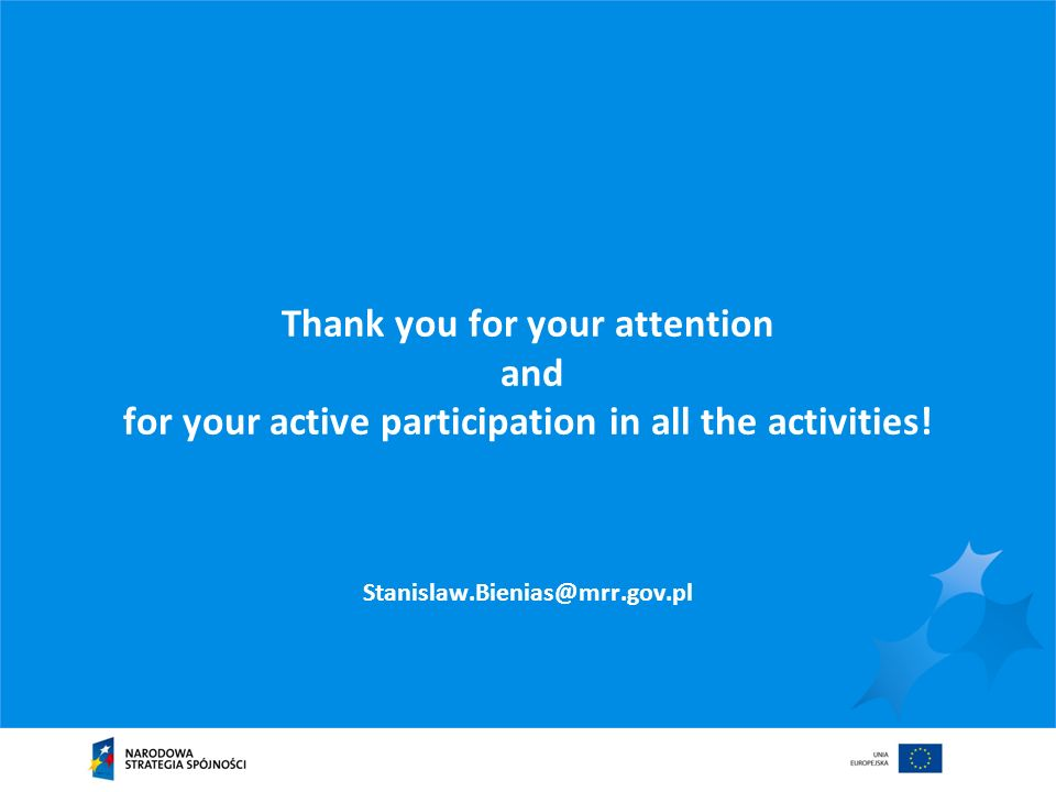 Thank you for your attention and for your active participation in all the activities.
