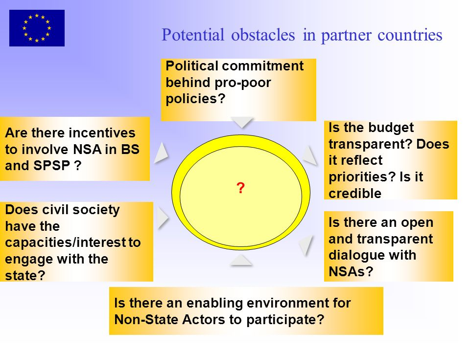 Potential obstacles in partner countries . Political commitment behind pro-poor policies.