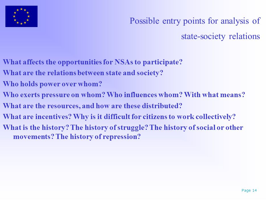 Possible entry points for analysis of state-society relations What affects the opportunities for NSAs to participate.