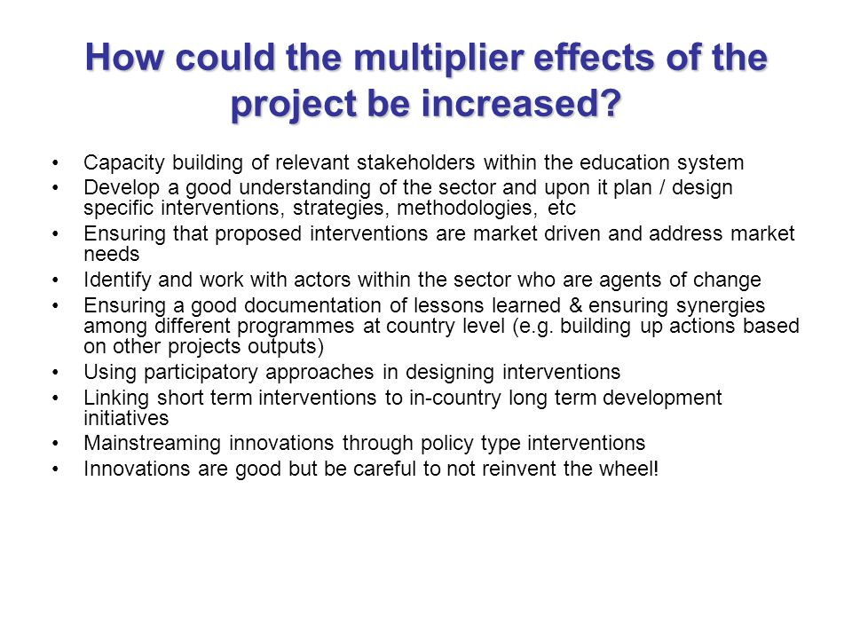 How could the multiplier effects of the project be increased.