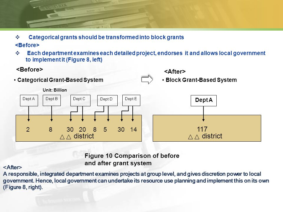 Categorical grants should be transformed into block grants Each department examines each detailed project, endorses it and allows local government to implement it (Figure 8, left) A responsible, integrated department examines projects at group level, and gives discretion power to local government.