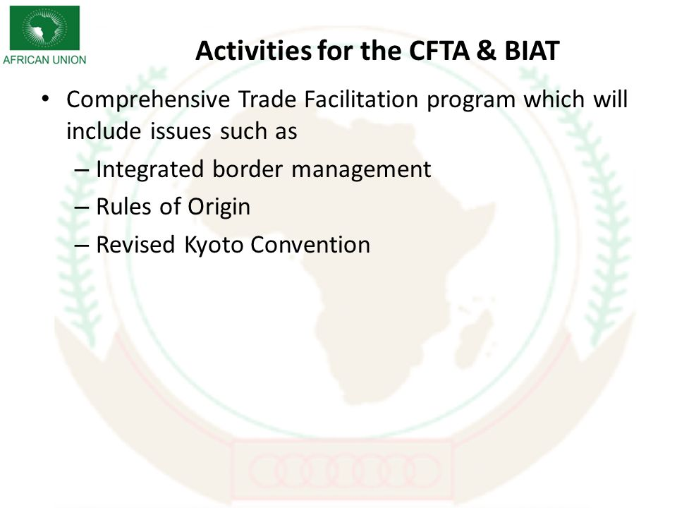 Activities for the CFTA & BIAT Comprehensive Trade Facilitation program which will include issues such as – Integrated border management – Rules of Origin – Revised Kyoto Convention