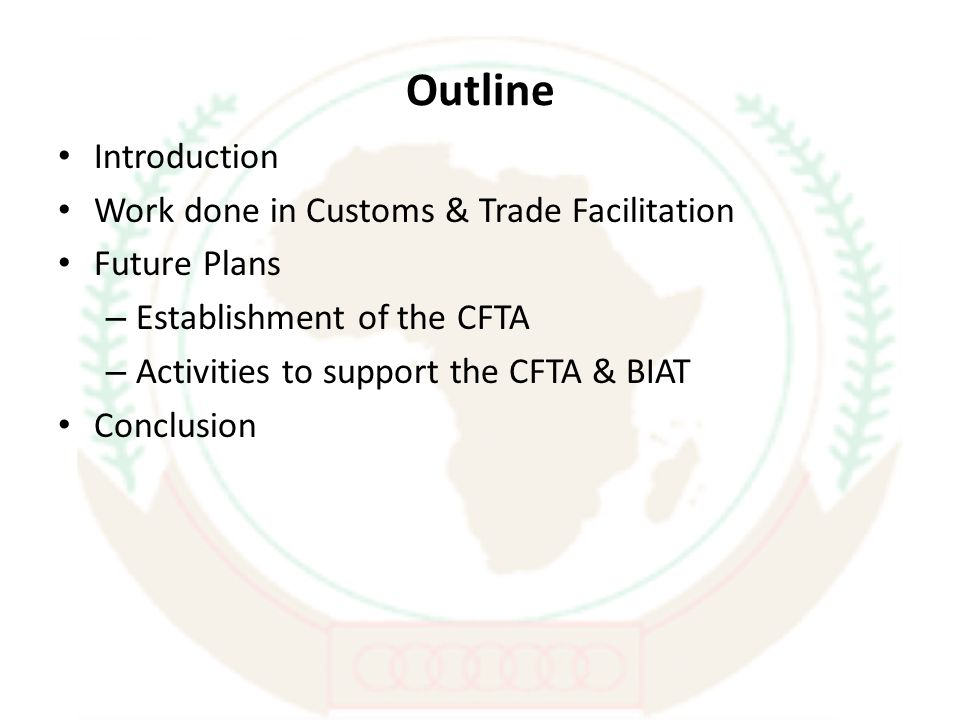 Outline Introduction Work done in Customs & Trade Facilitation Future Plans – Establishment of the CFTA – Activities to support the CFTA & BIAT Conclusion