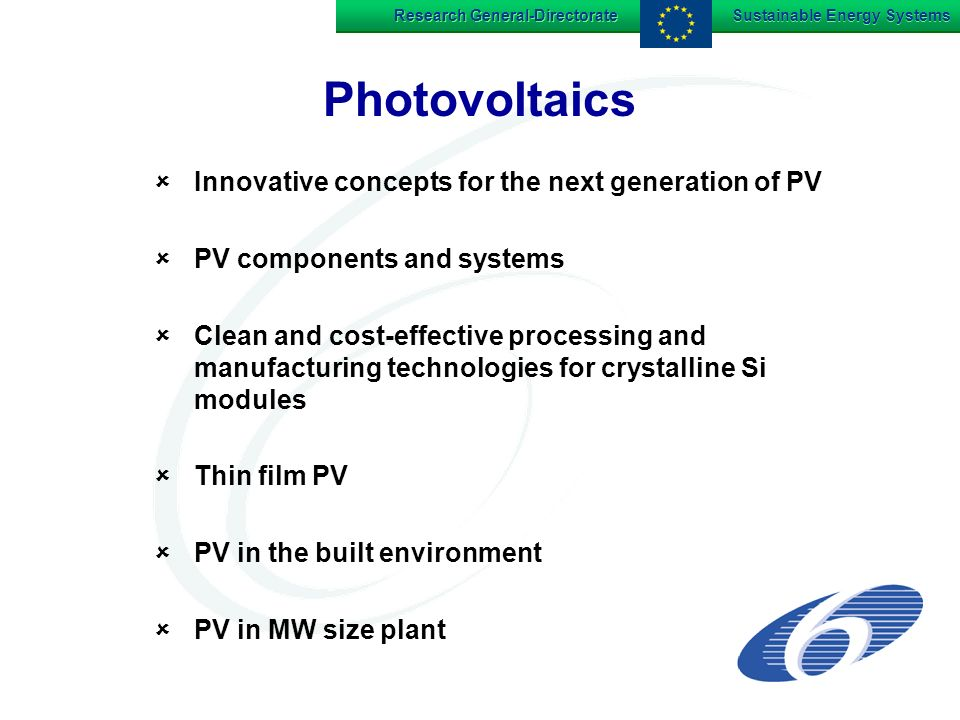 Research General-Directorate Sustainable Energy Systems Photovoltaics Innovative concepts for the next generation of PV PV components and systems Clean and cost-effective processing and manufacturing technologies for crystalline Si modules Thin film PV PV in the built environment PV in MW size plant