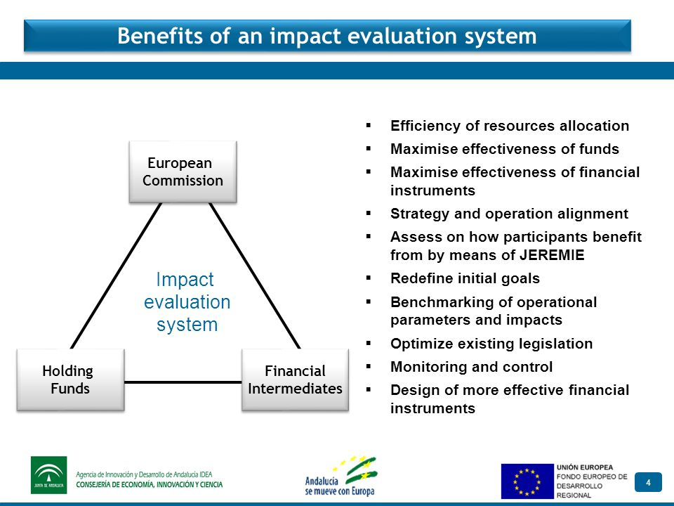 4 Benefits of an impact evaluation system Efficiency of resources allocation Maximise effectiveness of funds Maximise effectiveness of financial instruments Strategy and operation alignment Assess on how participants benefit from by means of JEREMIE Redefine initial goals Benchmarking of operational parameters and impacts Optimize existing legislation Monitoring and control Design of more effective financial instruments European Commission European Commission Holding Funds Holding Funds Financial Intermediates Financial Intermediates Impact evaluation system