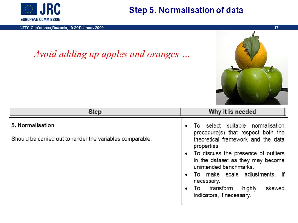 NTTS Conference, Brussels, 18-20 February 200917 Avoid adding up apples and oranges … Step 5.