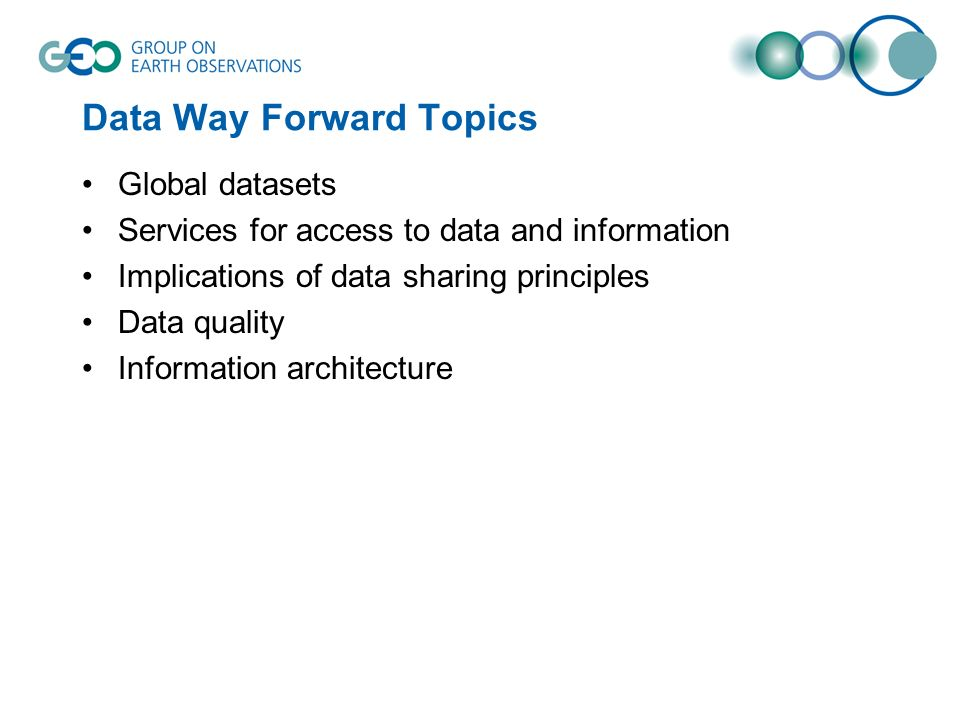 Data Way Forward Topics Global datasets Services for access to data and information Implications of data sharing principles Data quality Information architecture