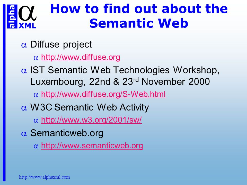 How to find out about the Semantic Web Diffuse project   IST Semantic Web Technologies Workshop, Luxembourg, 22nd & 23 rd November W3C Semantic Web Activity   Semanticweb.org