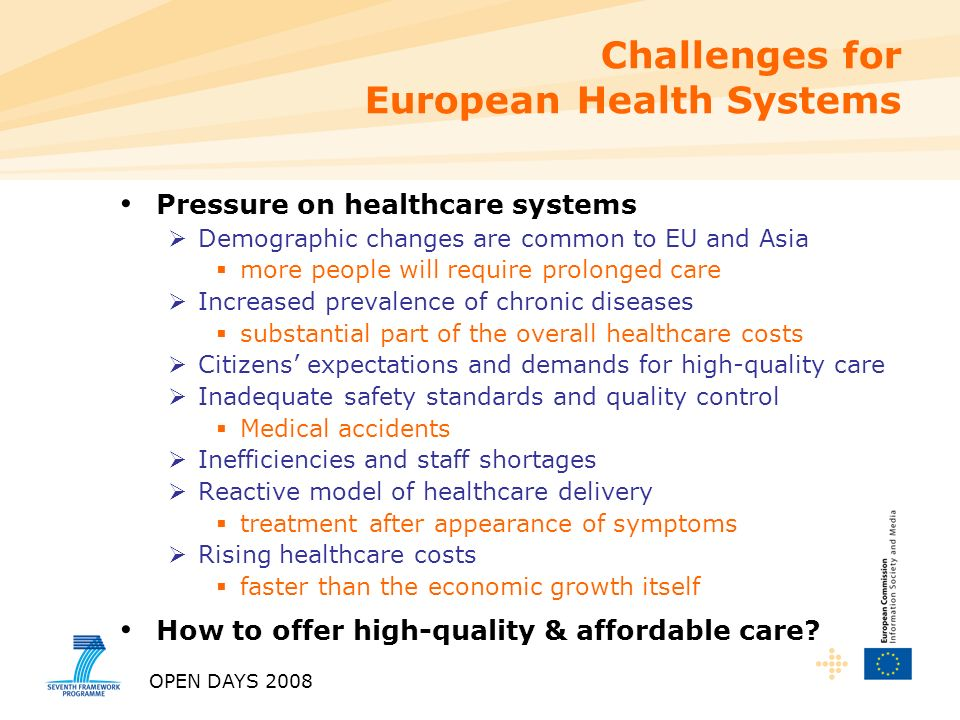 OPEN DAYS 2008 Challenges for European Health Systems Pressure on healthcare systems Demographic changes are common to EU and Asia more people will require prolonged care Increased prevalence of chronic diseases substantial part of the overall healthcare costs Citizens expectations and demands for high-quality care Inadequate safety standards and quality control Medical accidents Inefficiencies and staff shortages Reactive model of healthcare delivery treatment after appearance of symptoms Rising healthcare costs faster than the economic growth itself How to offer high-quality & affordable care