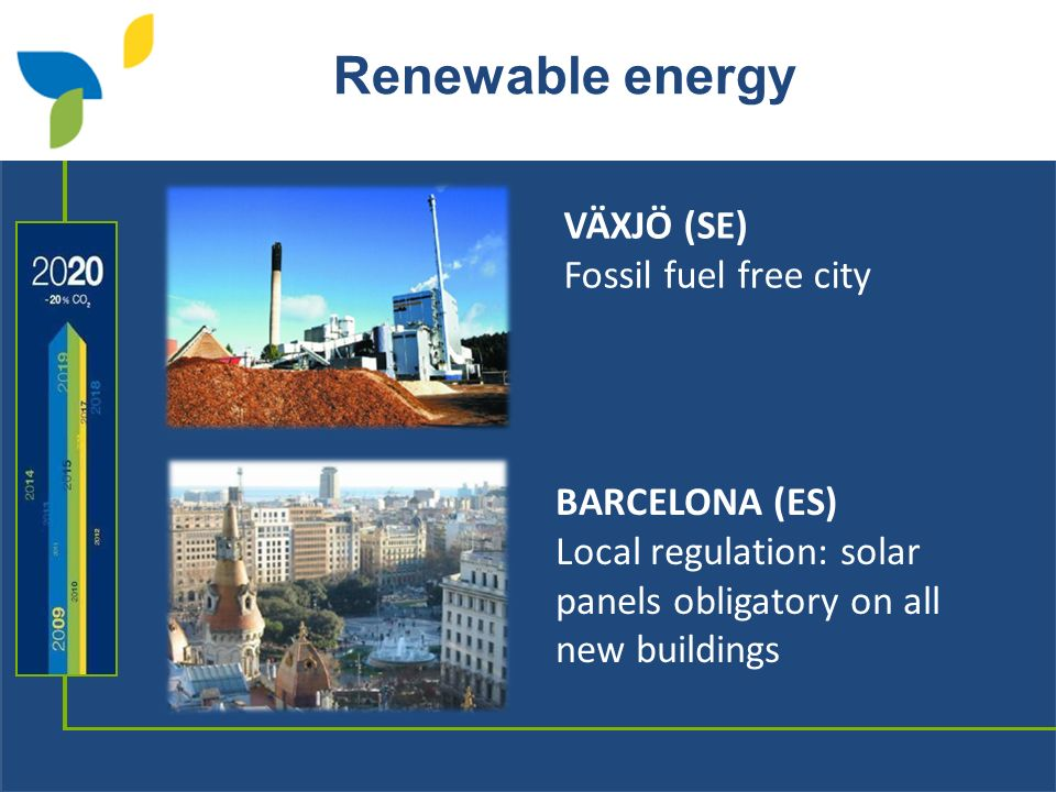 Renewable energy BARCELONA (ES) Local regulation: solar panels obligatory on all new buildings VÄXJÖ (SE) Fossil fuel free city