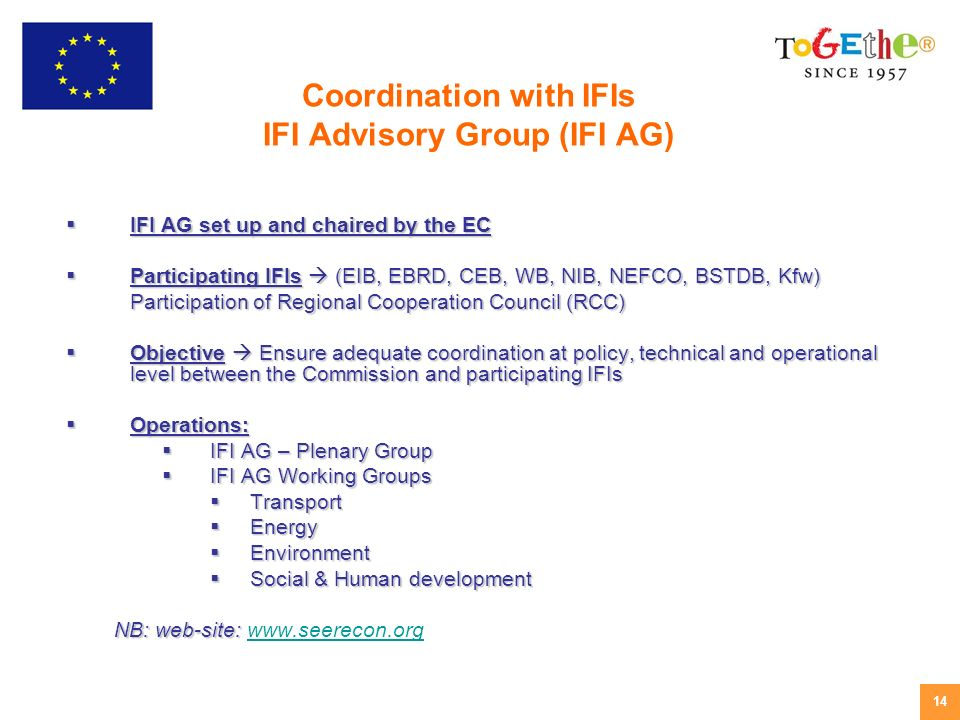14 IFI AG set up and chaired by the EC IFI AG set up and chaired by the EC Participating IFIs (EIB, EBRD, CEB, WB, NIB, NEFCO, BSTDB, Kfw) Participating IFIs (EIB, EBRD, CEB, WB, NIB, NEFCO, BSTDB, Kfw) Participation of Regional Cooperation Council (RCC) Objective Ensure adequate coordination at policy, technical and operational level between the Commission and participating IFIs Objective Ensure adequate coordination at policy, technical and operational level between the Commission and participating IFIs Operations: Operations: IFI AG – Plenary Group IFI AG – Plenary Group IFI AG Working Groups IFI AG Working Groups Transport Transport Energy Energy Environment Environment Social & Human development Social & Human development NB: web-site: NB: web-site:   Coordination with IFIs IFI Advisory Group (IFI AG)