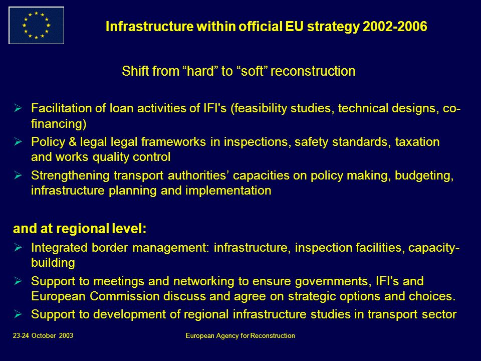 23-24 October 2003European Agency for Reconstruction Infrastructure within official EU strategy Shift from hard to soft reconstruction Facilitation of loan activities of IFI s (feasibility studies, technical designs, co- financing) Policy & legal legal frameworks in inspections, safety standards, taxation and works quality control Strengthening transport authorities capacities on policy making, budgeting, infrastructure planning and implementation and at regional level: Integrated border management: infrastructure, inspection facilities, capacity- building Support to meetings and networking to ensure governments, IFI s and European Commission discuss and agree on strategic options and choices.