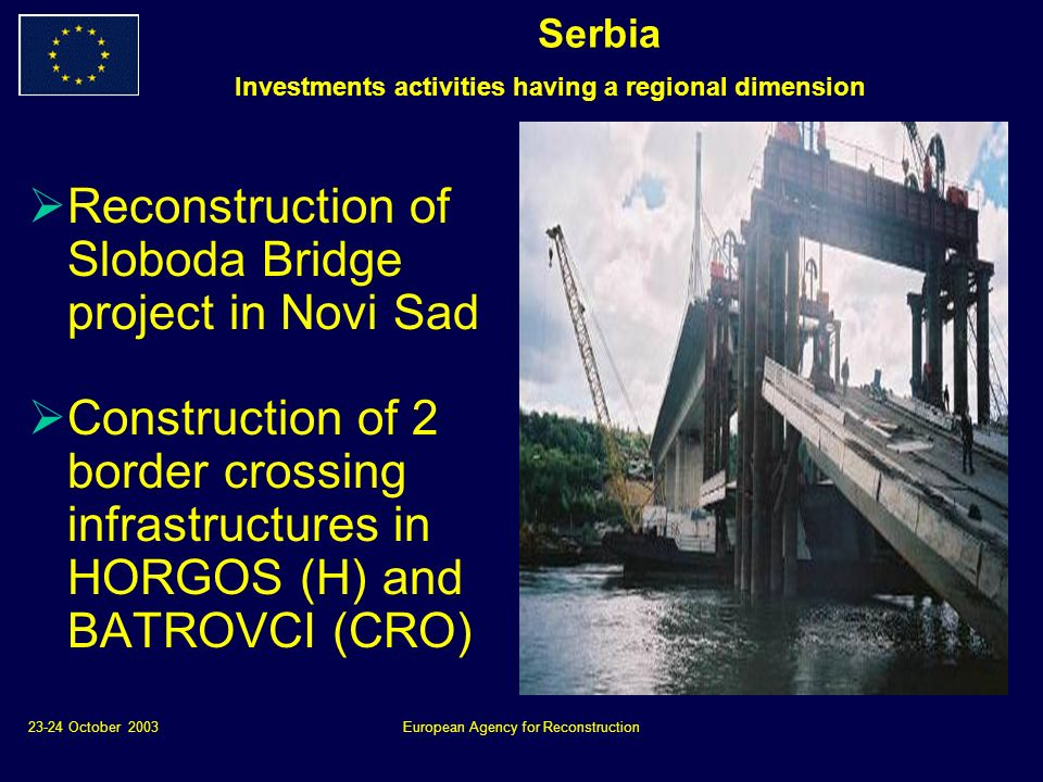 23-24 October 2003European Agency for Reconstruction Reconstruction of Sloboda Bridge project in Novi Sad Construction of 2 border crossing infrastructures in HORGOS (H) and BATROVCI (CRO) Serbia Investments activities having a regional dimension