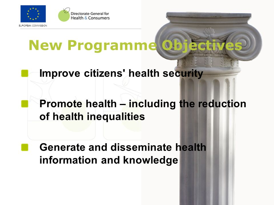 New Programme Objectives Improve citizens health security Promote health – including the reduction of health inequalities Generate and disseminate health information and knowledge