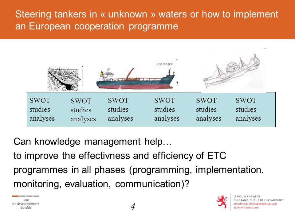 Steering tankers in « unknown » waters or how to implement an European cooperation programme Can knowledge management help… to improve the effectivness and efficiency of ETC programmes in all phases (programming, implementation, monitoring, evaluation, communication).