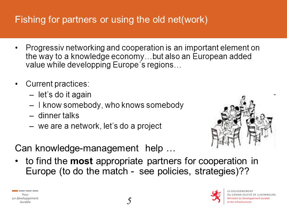 Fishing for partners or using the old net(work) Progressiv networking and cooperation is an important element on the way to a knowledge economy…but also an European added value while developping Europe´s regions… Current practices: –lets do it again –I know somebody, who knows somebody –dinner talks –we are a network, lets do a project Can knowledge-management help … to find the most appropriate partners for cooperation in Europe (to do the match - see policies, strategies) .