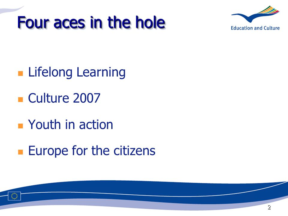 2 Four aces in the hole Lifelong Learning Culture 2007 Youth in action Europe for the citizens