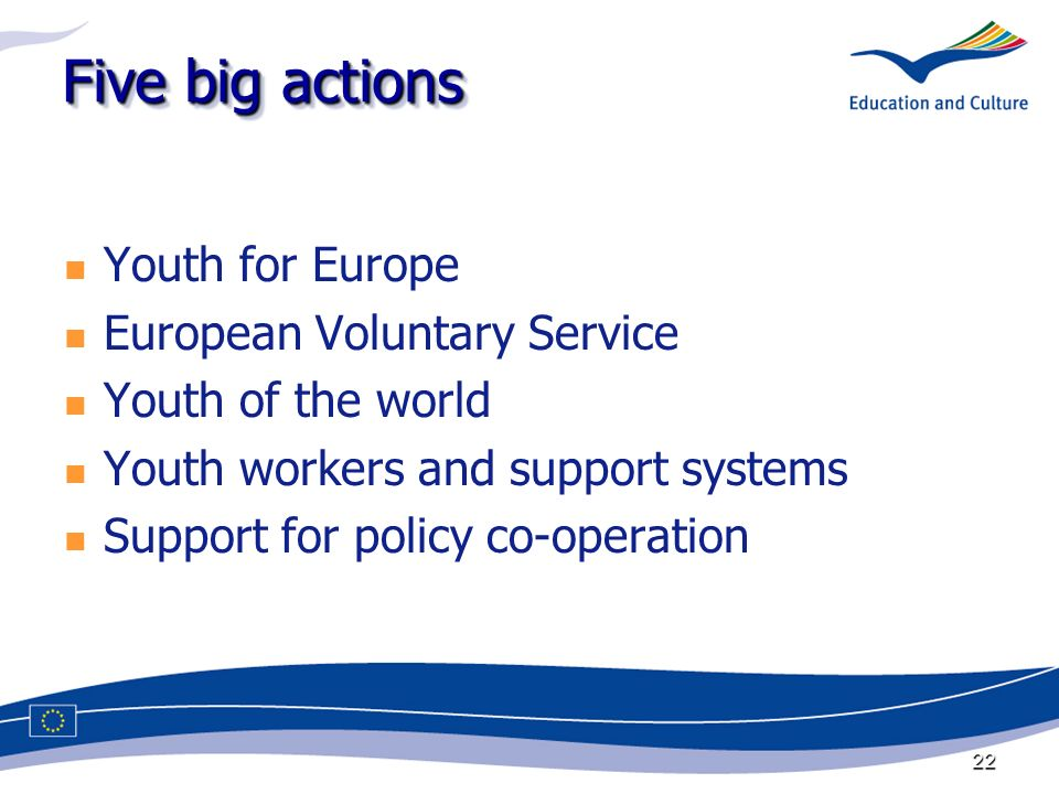 22 Five big actions Youth for Europe European Voluntary Service Youth of the world Youth workers and support systems Support for policy co-operation
