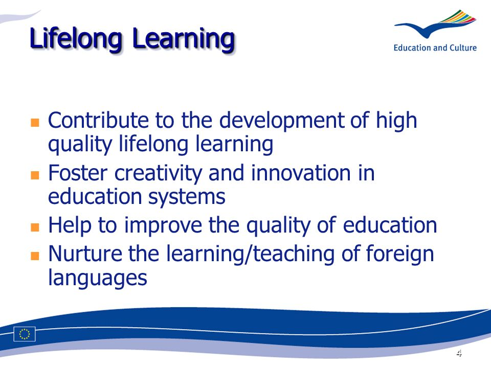 4 Lifelong Learning Contribute to the development of high quality lifelong learning Foster creativity and innovation in education systems Help to improve the quality of education Nurture the learning/teaching of foreign languages