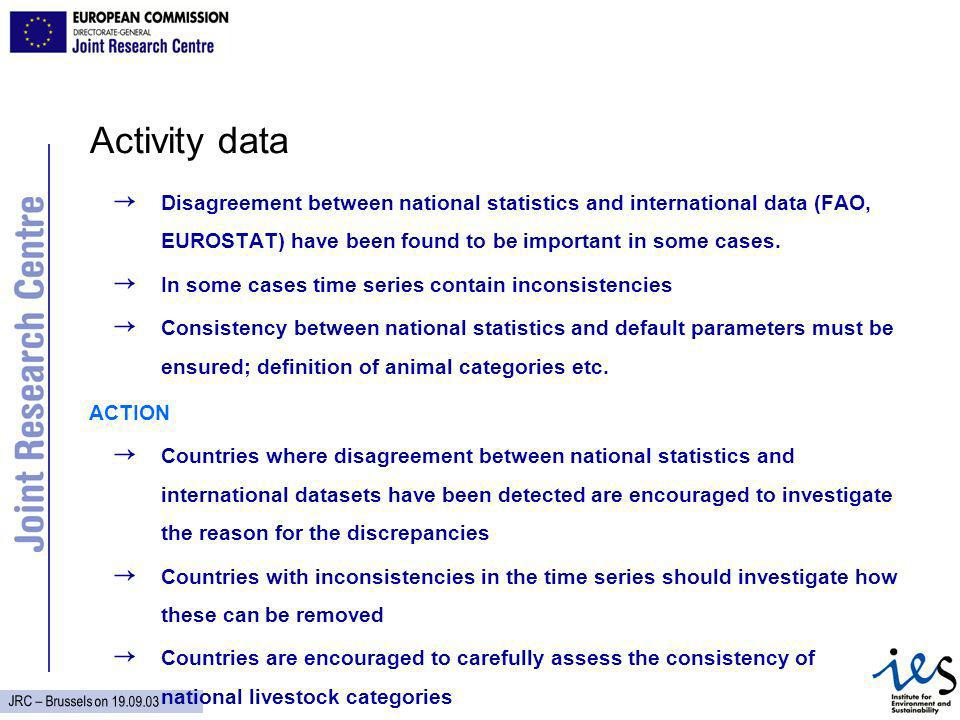 JRC – Brussels on Activity data Disagreement between national statistics and international data (FAO, EUROSTAT) have been found to be important in some cases.
