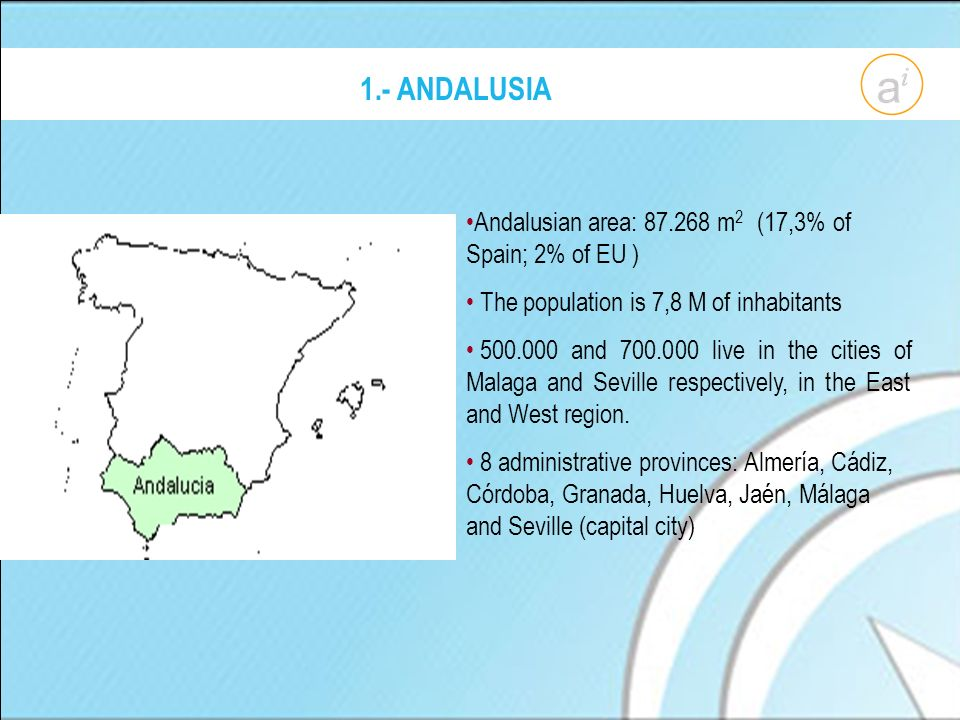 1.- ANDALUSIA Andalusian area: 87.268 m 2 (17,3% of Spain; 2% of EU ) The population is 7,8 M of inhabitants 500.000 and 700.000 live in the cities of Malaga and Seville respectively, in the East and West region.