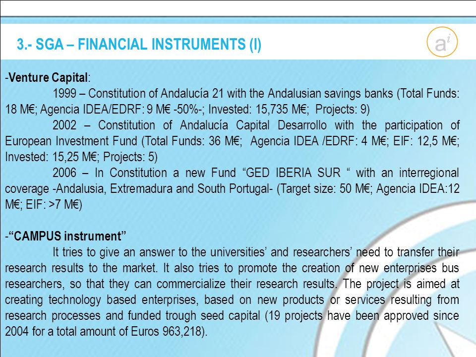 3.- SGA – FINANCIAL INSTRUMENTS (I) - Venture Capital : 1999 – Constitution of Andalucía 21 with the Andalusian savings banks (Total Funds: 18 M; Agencia IDEA/EDRF: 9 M -50%-; Invested: 15,735 M; Projects: 9) 2002 – Constitution of Andalucía Capital Desarrollo with the participation of European Investment Fund (Total Funds: 36 M; Agencia IDEA /EDRF: 4 M; EIF: 12,5 M; Invested: 15,25 M; Projects: 5) 2006 – In Constitution a new Fund GED IBERIA SUR with an interregional coverage -Andalusia, Extremadura and South Portugal- (Target size: 50 M; Agencia IDEA:12 M; EIF: >7 M) - CAMPUS instrument It tries to give an answer to the universities and researchers need to transfer their research results to the market.