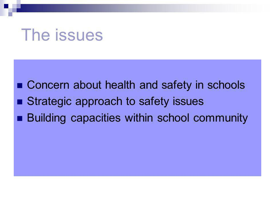 The issues Concern about health and safety in schools Strategic approach to safety issues Building capacities within school community